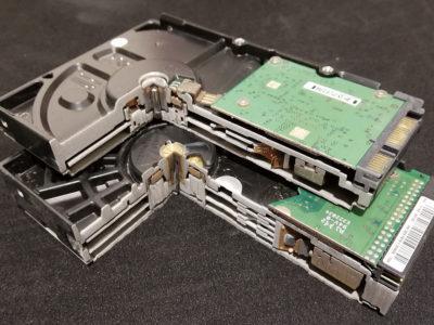 ハードディスクドライブ構造確認ウォータージェット切断