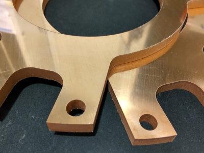 銅板ウォータージェット切断加工